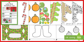 KS1 Christmas Tree Display Decorations Activity Pack - baubles, craft, class christmas tree, KS1, Ks2, EYFS,