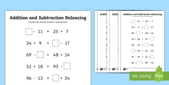 LKS2 Addition and Subtraction Balancing Problems Differentiated Activity Sheets - Balancing equations, balancing sums, puzzles, reasoning, algebra, missing number problems, worksheet