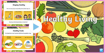 Healthy Eating and Living PowerPoint - healthy eating, powerpoint, food, lifestyle, fruit