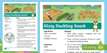 Brenda's Boring Eggs Duckling Snack Recipe - EYFS, KS1, Design and Technology, Home Learning, Parents, story sack, food, salad, eating, cooking,