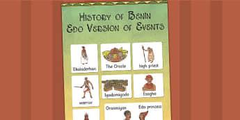 History of Benin Edo Version of Events Story Vocabulary Mat