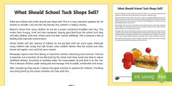 What Should School Tuck Shops Sell? Discussion Writing Sample - Literacy, What Should School Tuckshops Sell? Discussion  Writing Sample  year 3, year 4, discussion,