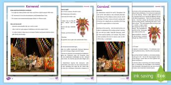 KS2 Carnival Differentiated Fact File English/German - Brazil, Geography, fact file, events, culture, EAL, German,