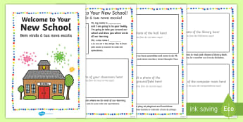 EAL Starter Welcome to Your New School Booklet English/Portuguese - EAL Starter Welcome to Your New School Booklet - New, School, EAL