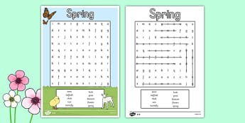 Springtime Wordsearch - springtime, seasons, weather, wordsearch, words
