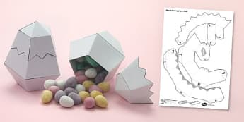 Open Up Easter Egg Paper Model - easter, egg, paper, model, open