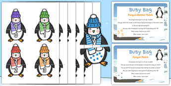 Penguin Matching Busy Bag Prompt Card and Resource Pack - Antarctic, Polar, Penguin, busy bag, matching, match