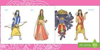 排灯节故事人物形象 - 排灯节,印度,节日,庆典,故事,人物,罗摩,悉多