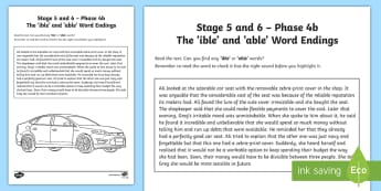 Northern Ireland Linguistic Phonics Stage 5 and 6, Phase 4b 'ible' and 'able' Activity Sheet  - NI, Linguistic Phonics, Stage 5, Stage 6, Phase 4b, Worksheet Keywords, Northern Ireland, 'ible'