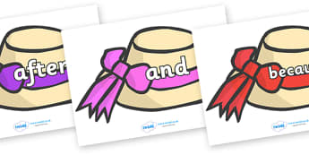 Connectives on Summer Hats - Connectives, VCOP, connective resources, connectives display words, connective displays