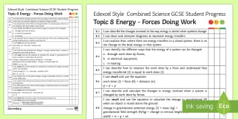 Edexcel Style Energy; Forces Doing Work Progress Sheet - Joules, work done, energy systems, efficiency, gravitational potential energy, GCSE, revision, self