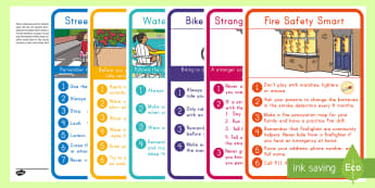 Staying Safe Display Posters - water safety, stranger safety, fire safety, bike safety, sun safety, summer safety, safety display p