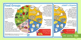Large Food Groups Poster Arabic/English - Large Food Groups Poster - food groups, healthy eating, food, food groups poster, big food groups po