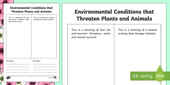 Environmental Conditions that Threaten Plants and Animals Activity - Spring Resources, understanding life systems, growth and changes in plants, science, environment.