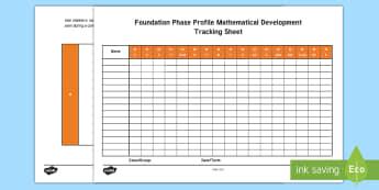 Foundation Phase Profile Mathematical Development Assessment Tracker - Foundation Phase, Foundation Phase Profile, Assessment Tracker, Maths Assessment, Compact Profile, F