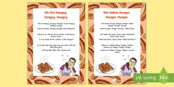 Wir Haben Hunger Song Lyrics German - German, Songs, Rhyme, Wir haben Hunger, MFL, Languages