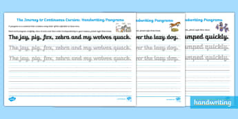 The Journey to Continuous Cursive: KS2 Handwriting Pangrams Assessment Activity Sheets - Handwriting, Joined, Assess, Review, Cursive, continuous cursive, worksheets