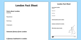 London Factsheet Writing Template - london, london fact sheet, london fact file, london worksheet, facts about london, british capital, capital cities, ks2