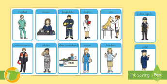 Job Flashcards - Jobs, Professionals, the city, my community, teacher, firefighter, versión española, trabajos en e