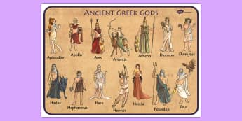 Ancient Greek Gods Word Mat - ancient greece, visual aid, keyword
