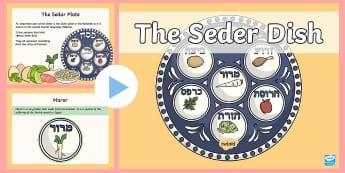 Seder PowerPoint - judaism, passover, egg, chicken bone, herbs, vegetables, charoset,