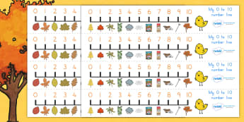 Autumn Number Line 0 10 - count, counting, counting aid, seasons