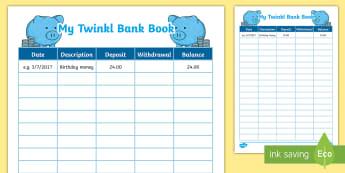 Financial Literacy Bank Book Number Worksheet / Activity Sheet - bank book, banking, number, maths, new zealand, financial literacy