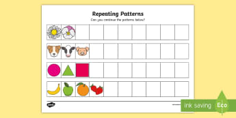 Repeating Patterns KS1 Activity Sheet - extending, algebra, patterns, copy, continue,Irish