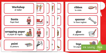 Santa's Workshop Role-Play Word Cards English/Spanish - EAL, Christmas, role play words, Grotto, workshop, elf, elves, Santa, Father Christmas, word cards,