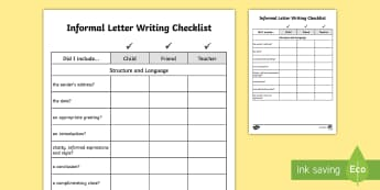 Y3/Y4 Informal Letter Writing Checklist - Requests KS2 English, year 3, Year 4, Y3, Y4, informal, letter, checklist, informal letter writing,
