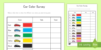 Car Color Survey Activity - color, tally, car, counting, data, graphing, numbers, observation,