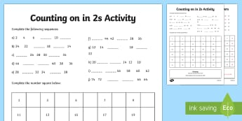 Skip Counting by 2's Activity Sheet - Australia Maths, Skip Counting, Number and Place Value, counting in 2s, counting