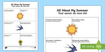 All About My Summer Activity Sheet - English/French  - All About My Summer Activity Sheet - all about me, summer, activity, holiday,summertime,summertime,a