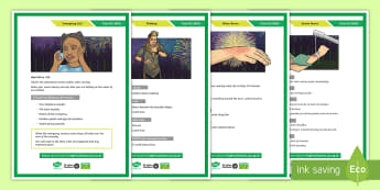 St John Ambulance: Big First Aid Lesson Display Posters - first aid, health, care, safety, burns, bonfire night, st john ambulance, emergency call, phone, amb