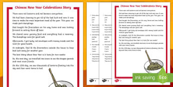 KS1 Chinese New Year Celebrations Story Differentiated Reading Comprehension Activity - Lantern, Zodiac, Festival, Fiction, Read