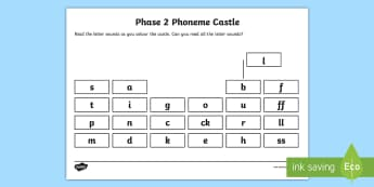 Phase 2 Phoneme Castle Activity Sheet - Phonics, Letters and Sounds, EYFS, KS1, Letter Sounds, Phonics Assessment, worksheet, Letter Recogni