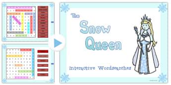 The Snow Queen Interactive Wordsearch - snow queen, wordsearch