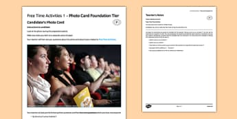 Leisure 1 GCSE Foundation Tier Photo-Card French - speaking, oral, free-time, cinema, TV, television, music, sport, shopping