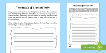 King Sitric's Letter Writing Activity Sheet