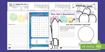 Top Ten KS1  New Year's Resolutions Activity Pack - new year, resolution, goal, aim, target, improve, challenge, promise