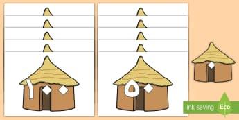 قصاصات عرض: العد بالعشرات على الأكواخ  - المنازل و البيوت، المرحلة الأساسية الأولى، السنة الأو