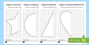 Disegna la Simmetria delle Forme 2D Attività - matematica, 2D, forme, geometriche, geometria, simmetria, disegna, disegno, italiano, italian