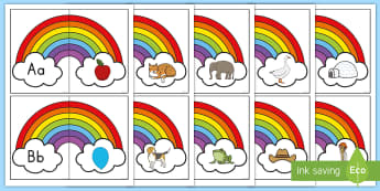 Rainbow Beginning Sounds Matching Puzzle - beginning sounds, letter sounds, alphabet sounds, letter puzzle, beginning sounds, puzzle, letter so