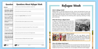 KS2 Refugee Week Differentiated Reading Comprehension Activity
