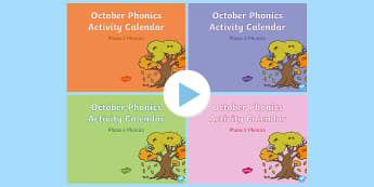 October Phonics Activity Calander PowerPoint Pack - Reading, Spelling, Game, Starter, Sounds