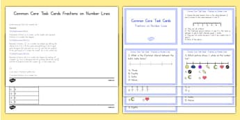 Common Core Task Cards Fractions on a Number Line - US Resources, Common Core, Fractions, Number Lines, Equivalent Fractions, Task Cards, Number and Operations-Fractions, NF, 3rd, 4th, 5th