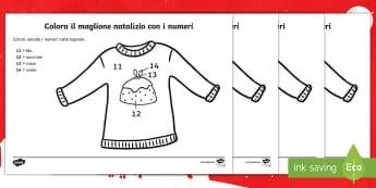 Colora il maglione di Natale con i numeri Attività - natalizio, decorare, colorare, colori, numeri, matematica, materiale, scolastico, italiano, italian
