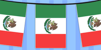 Mexico A4 Flag Bunting - countries, geography, flags, country