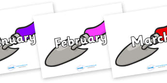 Months of the Year on Trowels - Months of the Year, Months poster, Months display, display, poster, frieze, Months, month, January, February, March, April, May, June, July, August, September