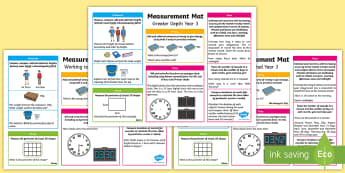 Year 3 Measurement Differentiated Maths Mats - KS2 Maths, Year 3, Y3, measurement, expectations, greater depth, working towards, expected level, st